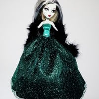 Handmade Monster High Dress Gown Black with Green Mesh and Boa