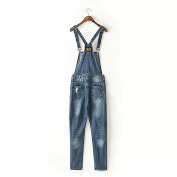 2016 Western Autumn Vintage Hole Jeans Rompers Womens Jumpsuit Casual Blue Denim Overalls Front Pocket Long Pencil Bodysuit
