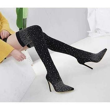 Runway Crystal Stretch Fabric Sock Boots Pointy Toe Over-the-Knee Heel Thigh High Pointed Toe Woman Boot