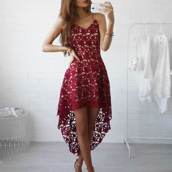 Elegant Lace Hollow Out Summer Dress Women