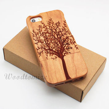 Natural Wood Engraved Tree iPhone 5C case cover, iPhone 5S 5 4 4s Samsung S3 S4 Note 3, Bamboo/Cherry/Sapele Laser Engraving, FREE protector