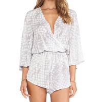 Blue Life Wild and Free Romper in Gray
