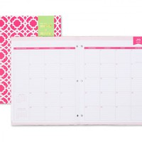 Day Designer Pink Trellis Stapled Monthly 8.5 x 11 Planner July 2015 - June 2016