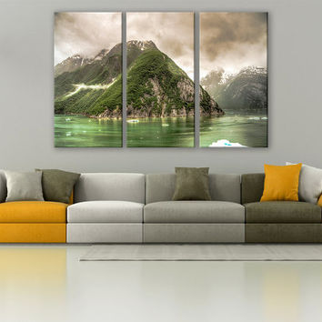 Tracy Arm Alaska Glacier Canvas Print 3 Panels Print Wall Decor Fine Art Nature Photography Repro Print for Home and Office Wall Decoration