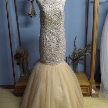 Halter Floor Length Open Back Champagne Mermaid Prom Dresses