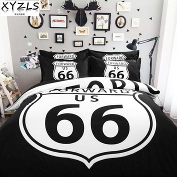 XYZLS Geometric Black US/AU/UK Queen Size Bedding Set American Style Route 66 Duvet Cover Sets Full Twin King Red Bedclothes