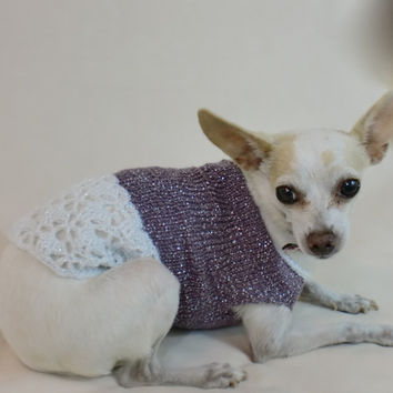 Purple Dog Sweater, Dog Clothes, Chihuahua Fashion Clothing, Cute Shimmer, Sparkle, White Lace Poodle