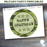 Party Printable Military Army Soldier Boot Camp Centerpiece Sign in Green Camouflage