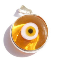 Round Orange Evil Eye Pendant