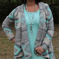Graced with Style Grey and Mint Aztec Cardigan
