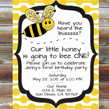 Printable Custom Bee Theme First Birthday Invitation 1st Boy Girl Or