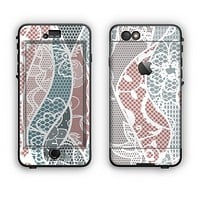 The Brown and Teal Lace Design Apple iPhone 6 LifeProof Nuud Case Skin Set