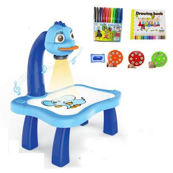 Funny Baby Drawing Learning Desk Toy With Project Function Children Educational Musical Painting Table Kids Favor Gift Toy