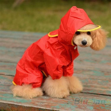 Winter Waterproof Pet Dog Hooded Hoodie Raincoat Slicker Dust Coat Clothes L/M/S = 1929787076