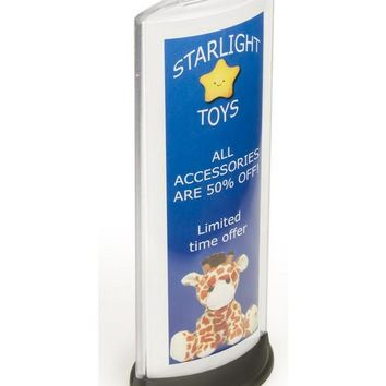 "4.5"" x 12.0"" x 1.8"" Sign Holder for Tabletop Fits a Folded 8.5 x 11 Sheet, Double-sided - Clear 19130"