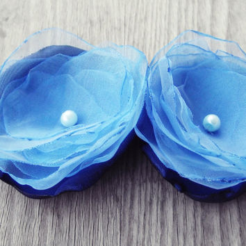 2 Blue Organza flowers handmade fabric flowers hair bridal flowers pin corsage women wedding europeanstreetteam