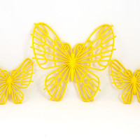 Vintage 1976 Burwood Yellow Butterfly Wall Hangings - Set of Three - Mod Wall Decor