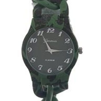 Geneva Camouflage Metal Link Band Fashion Watch