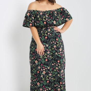 Floral Off the Shoulder Jumpsuit Plus Size