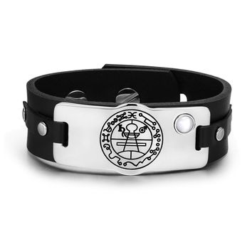 Secret Seal of Solomon Protection Magic Power Amulet White Simulated Cats Eye Leather Bracelet