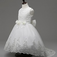 Flower lace prom dresses children's girl ball gowns dress party frocks flower girl dresses for weddings FGD10025