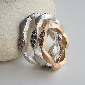 SALE Band Ring- Ruby Ring- Sapphire Ring- Vine Ring- Thumb Ring- Rose Gold Ring- Birthstone Ring-