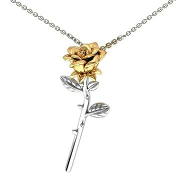 BeUrSelf 3D Rose Necklace Gold Color Final Rose Flower Beauty and the Beast Pendant Necklace Flower Jewelry for Women Mother