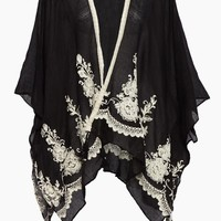 Solid Shawl W/ Floral Embroidery - Black