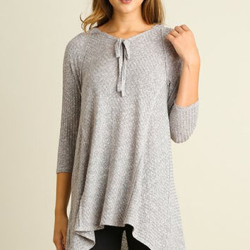 UMGEE grey hooded knit tunic with 3/4 sleeves