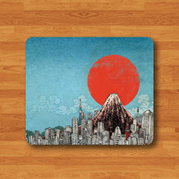 Japanese Fuji Mountain Sun Mouse Pad Blue Sky Japan MousePad Desk Deco Work Pad Mat Rectangle Personal Gift Ecofriendly Sustainable Desk