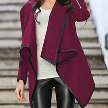 Red Wrap Asymmetrical Coat Trendy Red Jacket
