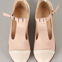 Qupid Strip-114 Two Tone Round Toe Flat