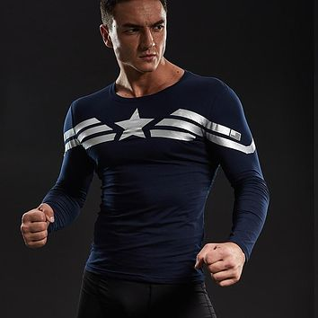 Captain America Long Sleeve T-shirts For Men Cotton Lycra Civil War Avengers Cosplay Costume Fitness Clothing Tops For  Male