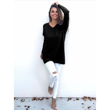 Casual Black Loose Long-Sleeved Sweater Shirt