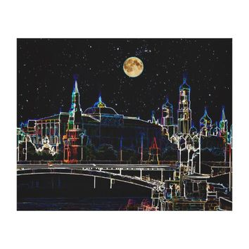 Moscow Kremlin Skyline At Night With Full Moon Canvas Print