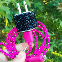 Pink & Black Gemstone iPhone 5/6/7 Charger