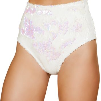 White High Waisted Sequin Shorts
