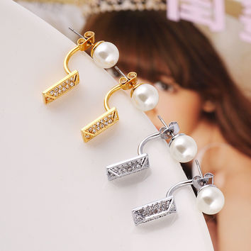 Accessory White Pearls Diamonds Earring Jewelry [6573075783]