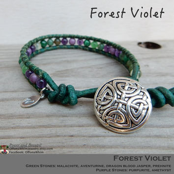 Amethyst, Malachite Green and Purple Forest Violet Handmade Leather Wrap Layer Stacked Japanese Power Stone Holistic Healing Energy Bracelet