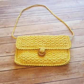Vintage Yellow Macrame Purse - Festival Fashion - Sunny Sun Butter - Handbag Shoulder Bag - Boho Hippie - 1970s Style - Made in Korea