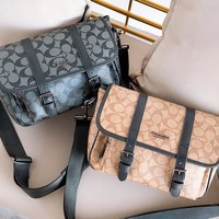 Coach fashion hot seller men and women full printed cross-slant briefcases