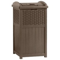 Outdoor Trash Hideaway Resin Wicker Garden Patio Garbage Waste Bin Can Basket