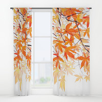 orange maple leaves watercolor Window Curtains by Color and Color