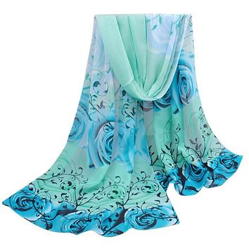 2016 Summer Print Silk Scarf Women Chiffon Shawl Wraps Scarves Sarong Sunscreen Beach Cover Up Long Cape #ED