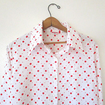 Wms Vintage '80s Red & White POLKA DOT Retro SHAPELY Bell Sleeve Button Down Blouse Sz 17/18 Sz L
