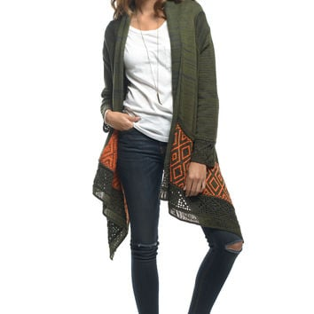 Green Open Front Knit Cardigan