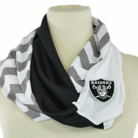 Embroidered Patch Chevron Stripe Infinity scarf Loop Circle Black Grey White Oakland Raiders women OOAK jersey Fashion Designs 4U
