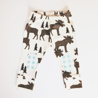 Organic baby leggings in moose print, kneepad leggings, baby leggings,  baby pants, toddler leggings, toddler pants