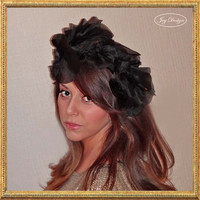 Black Satin and Organza Fascinator Headband Extra Large Floppy Leaves With Small Flower Buds moldable in many styles dramatic or romantic