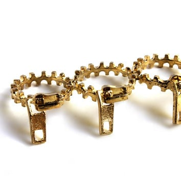 """Zip It"" Gold Three Finger Ring"